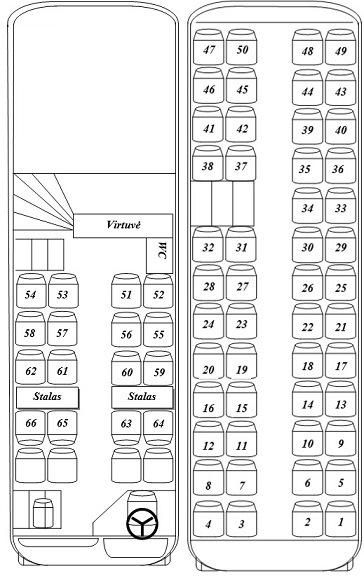64 vietų autobuso išklotinė