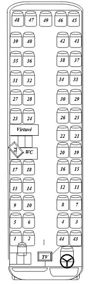 48 vietų autobuso išklotinė