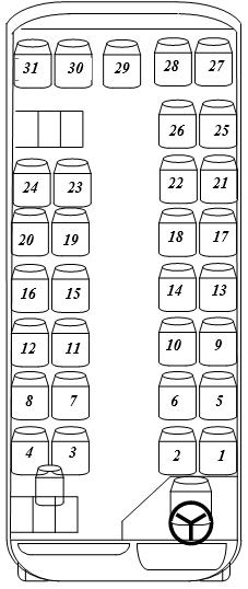 31 vietų autobuso išklotinė